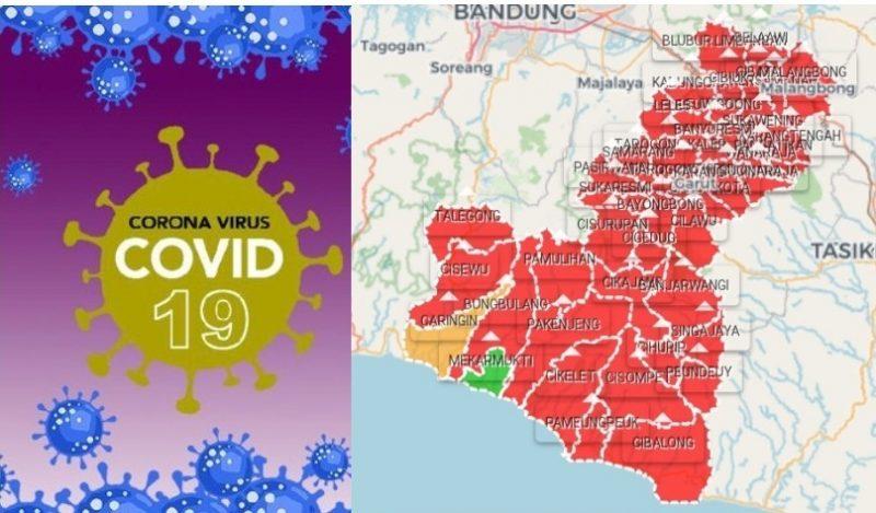 Peta sebaran Covid-19 di Kabupaten Garut, Jawa Barat. (Sumber peta: covid19.garutkab.go.id).